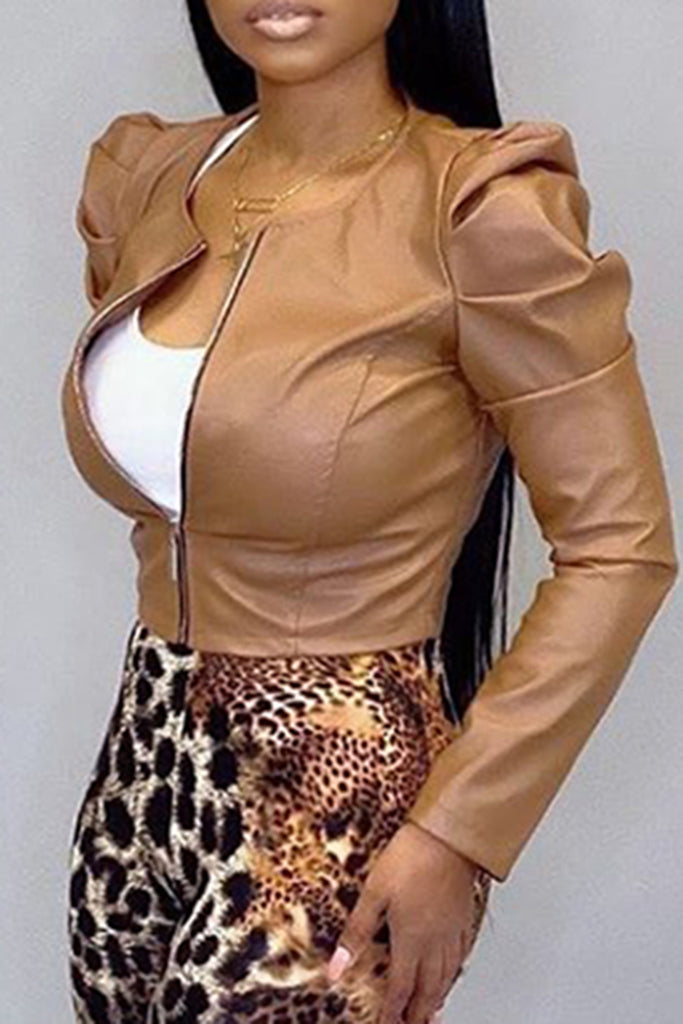 Leather Solid Color Zipper Up Jacket