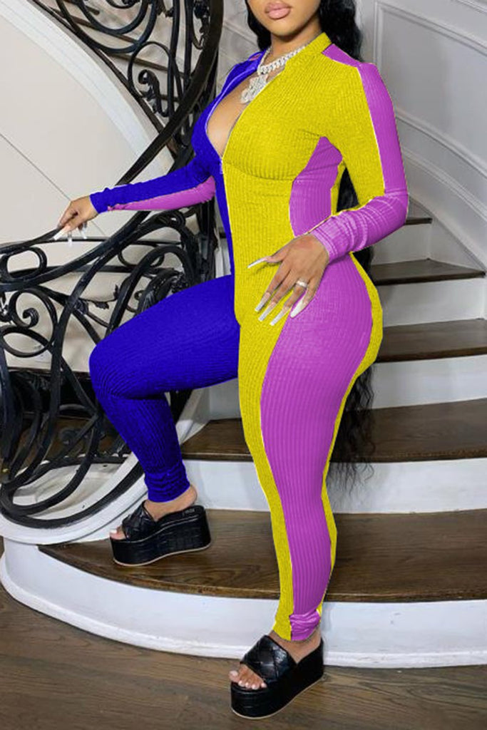 Color Spliced Zipper Long Sleeve Bodycon Jumpsuit