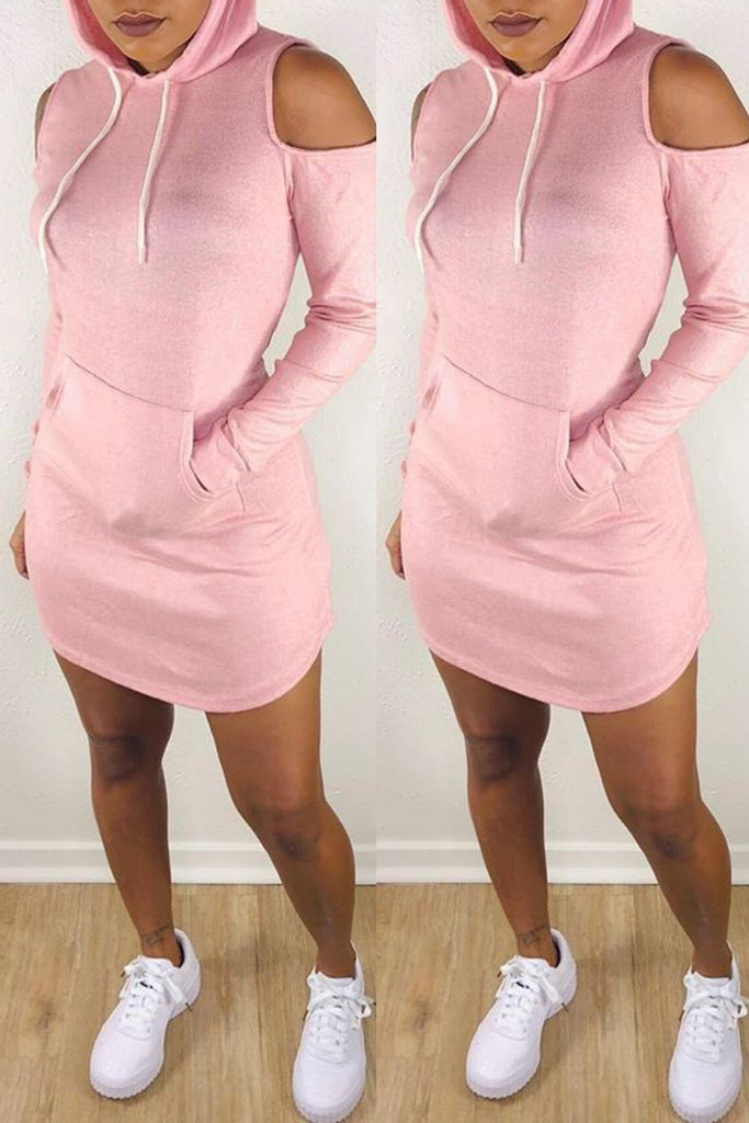 Hooded Cold Shoulder Pocket Casual Dress