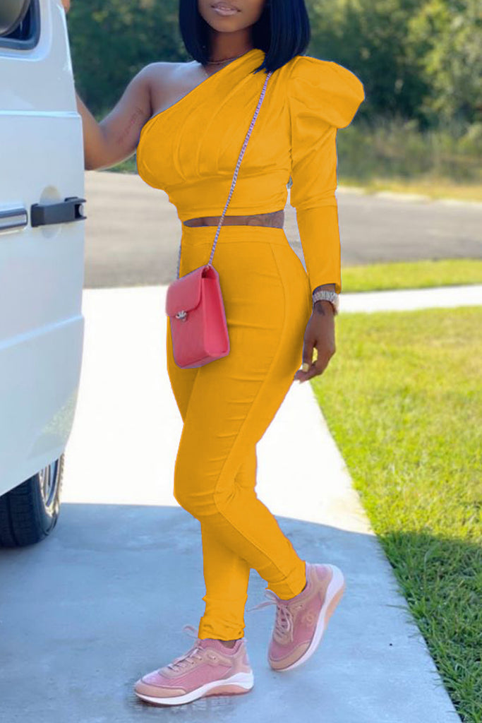 Solid Color One Sleeve Two Piece Sets
