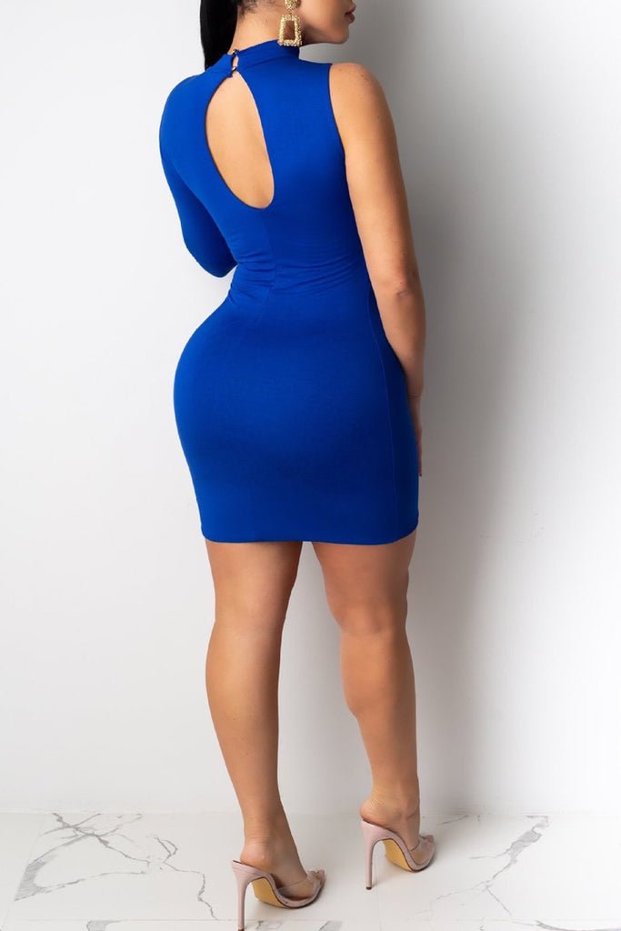 One Sleeve Lace-up Hollow Out Club Dress