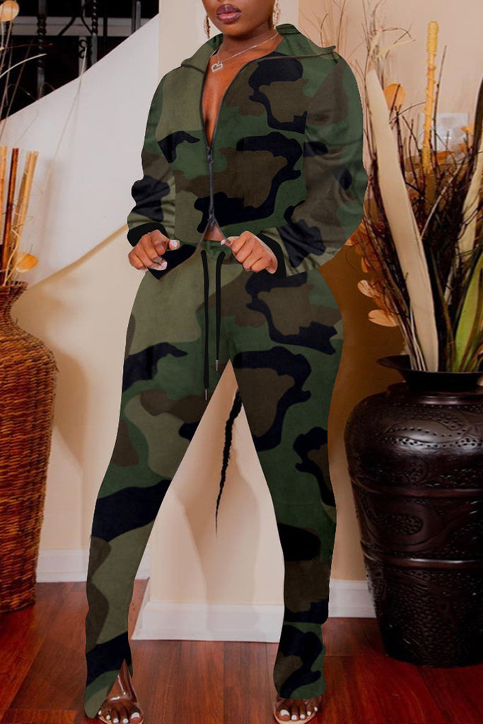 Camouflage Printed Drawstring Two Piece Sets