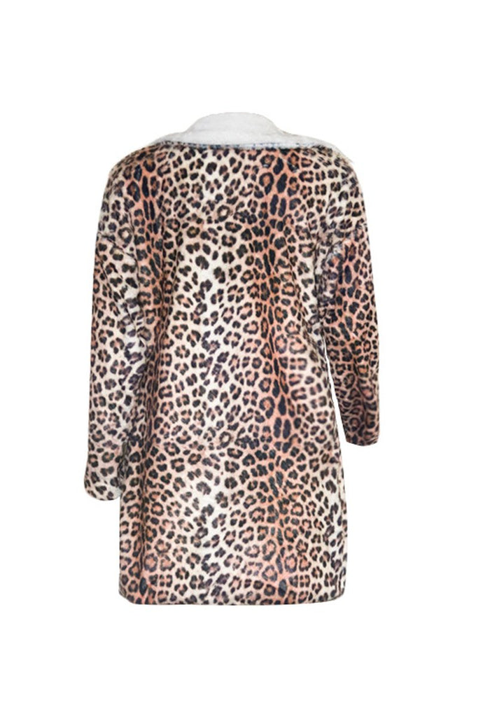 Wide Lapel Leopard Print Long Sleeve Coat