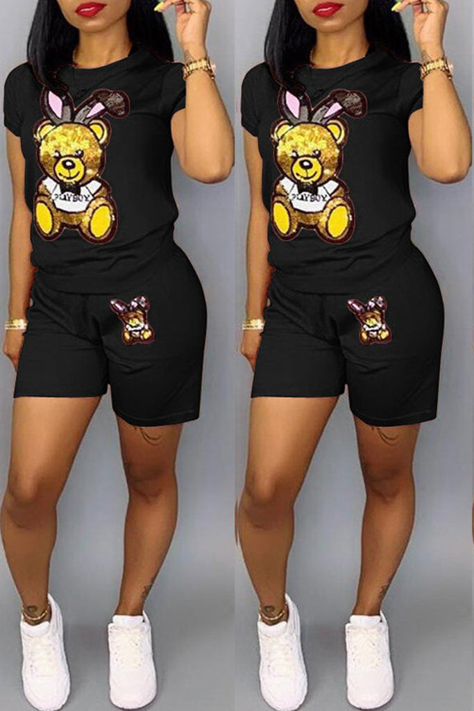 Plus Size Sequin Cartoon Print Top & Shorts