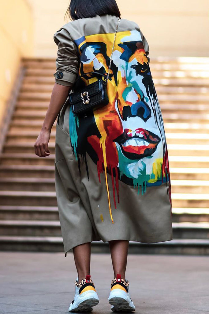 Plus Size Wide Lapel Graffiti Print Wind Coat