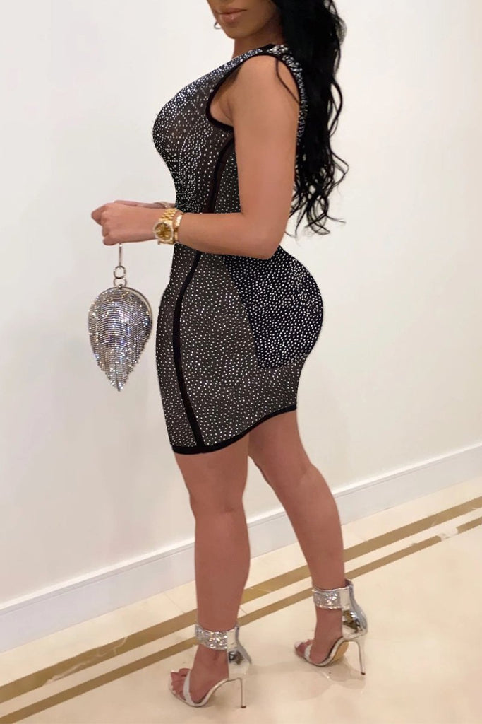 See-through Hot Drilling Plus Size Mini Dress