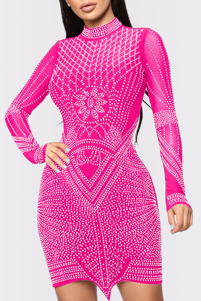 Hot Drilling See-through Net Yarn Splicing Mini Dress
