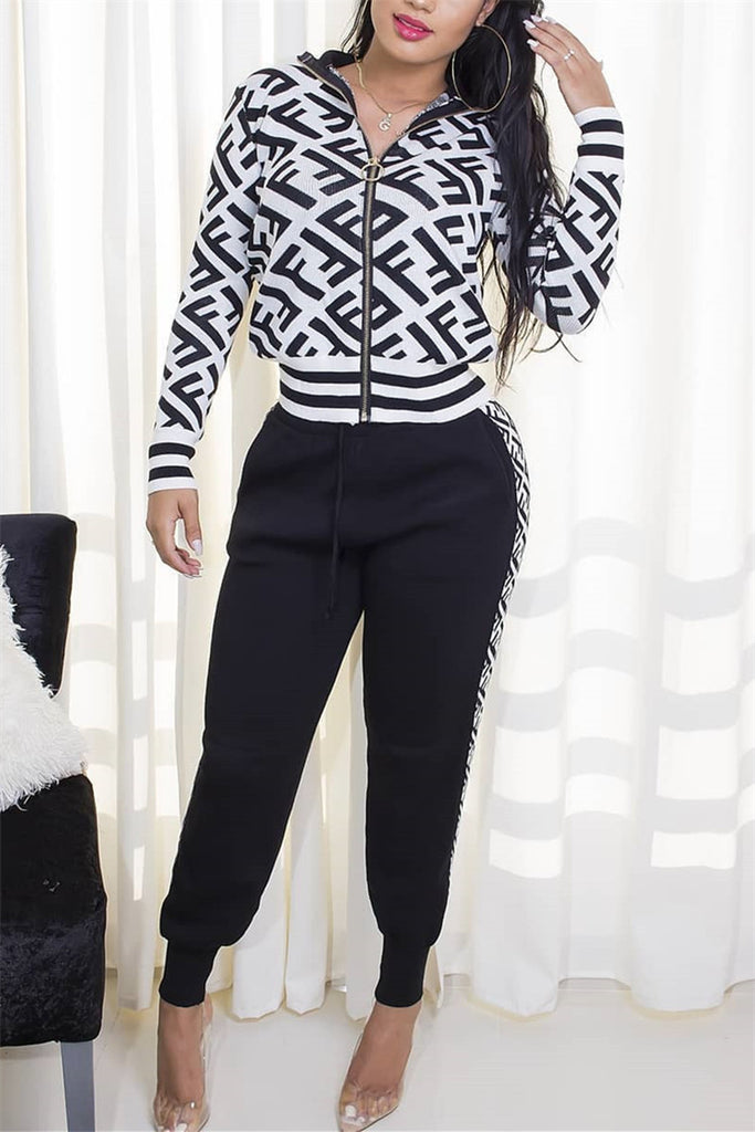Letter Print Zip Up Casual Two Piece Sets