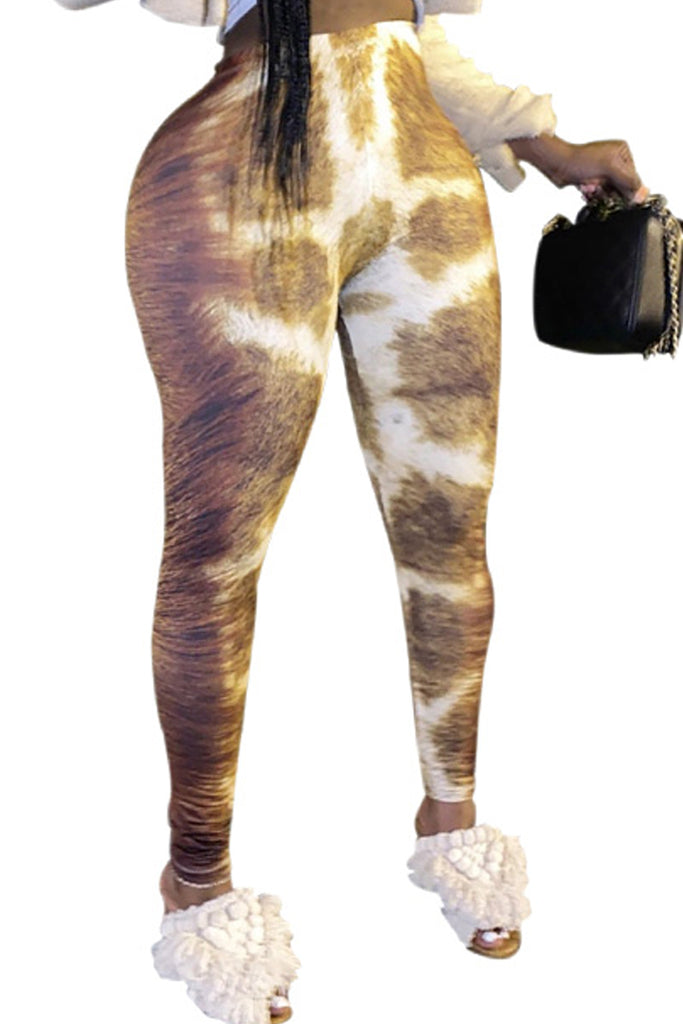 Animal Printed High Waist Leggings Pants