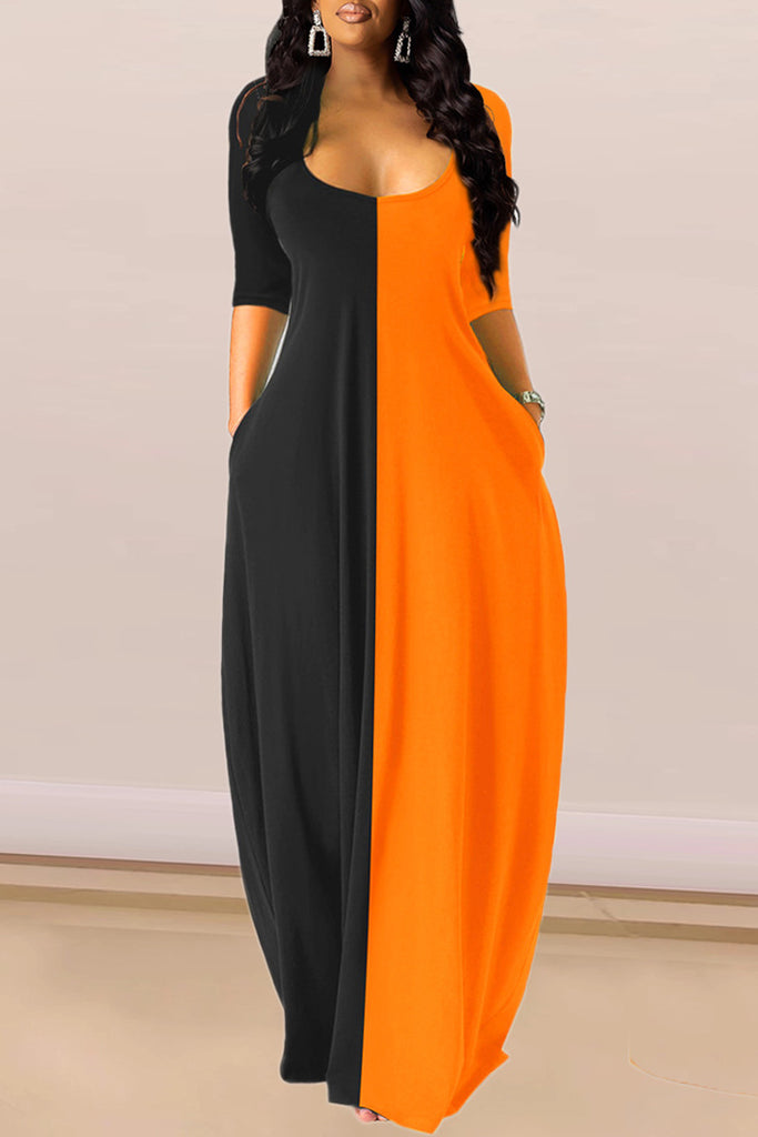 Color Block V-neck Half Sleeve Maxi Dress