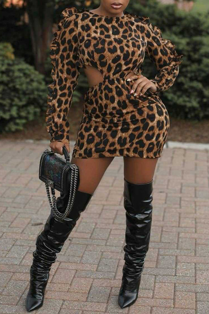 Ruffle Leopard Print Hollow Out Mini Dress