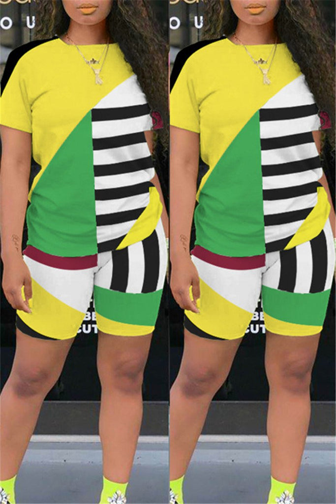 Stripe Color Block Short Sleeve Two Piece Sets