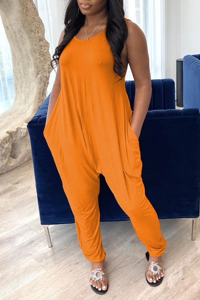Solid Color Sleeveless Loose Pocket Jumpsuit