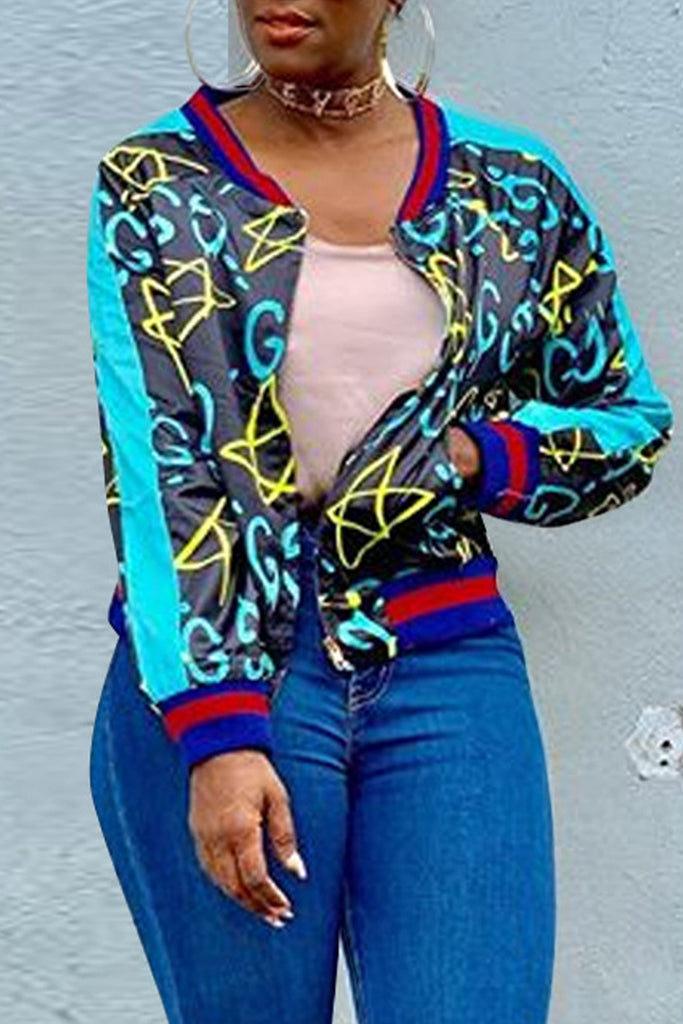 Digital Print Patchwork Long Sleeve Jacket