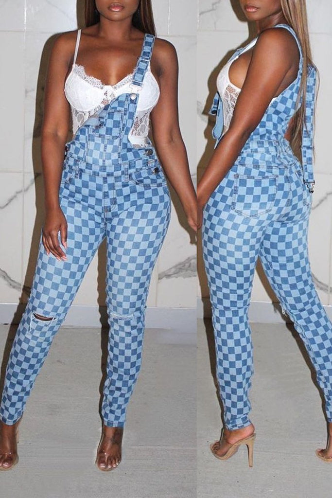 Denim Spaghetti Straps Plaid Print Jumpsuit