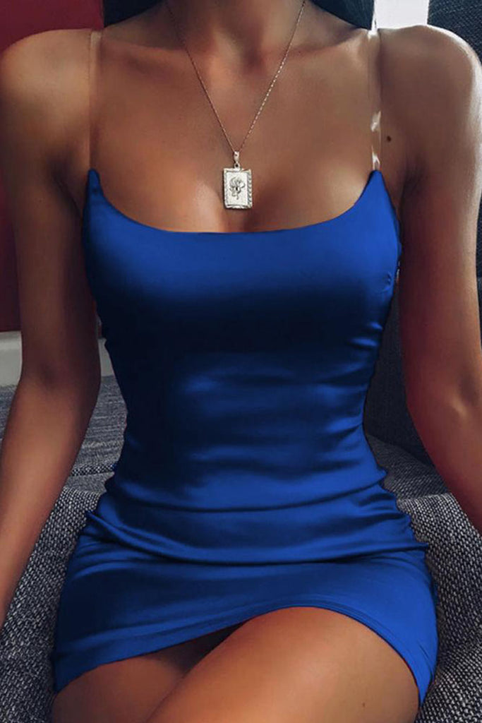Solid Color Sleeveless Sexy Slip Mini Dress