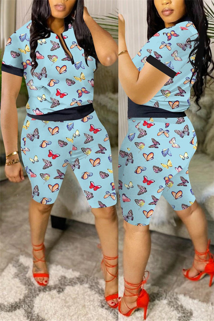 Lip Print Short Sleeve Casual Two Piece Sets
