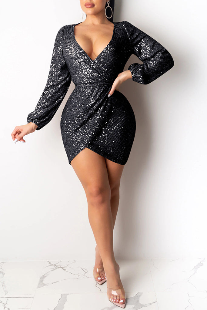 Deep V-Neck Open Back Sequin Mini Dress
