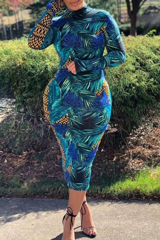 Leaf Print Long Sleeve Bodycon Midi Dress