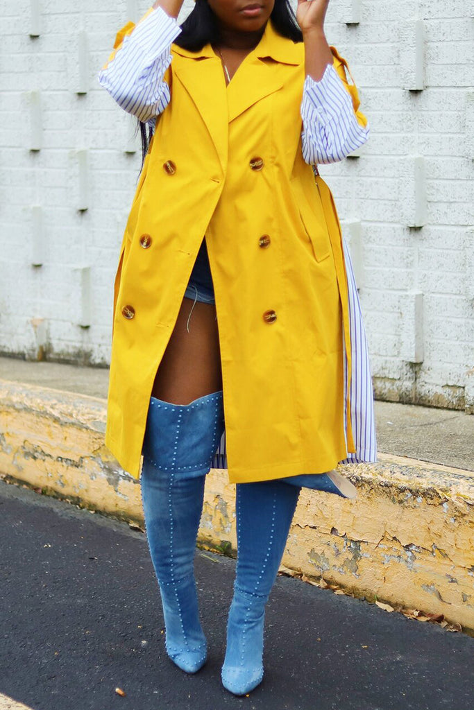 Stripe Patchwork Wide Lapel Lace-up Wind Coat