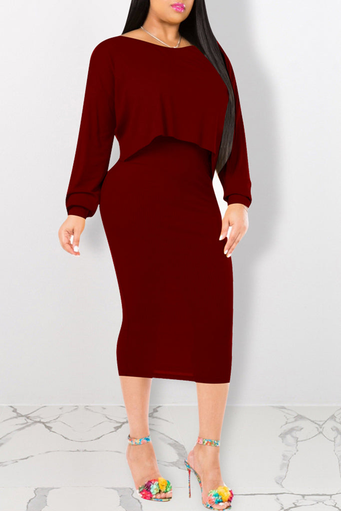 Solid Batwing Sleeve Two Piece Midi Dress
