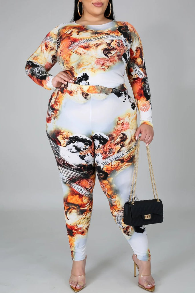 Plus Size Digital Print Long Sleeve Top & Pants