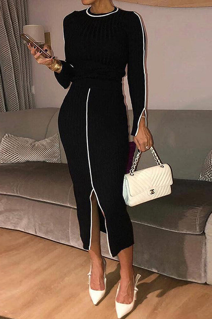 Decorative Edge Slit Hem OL Midi Dress