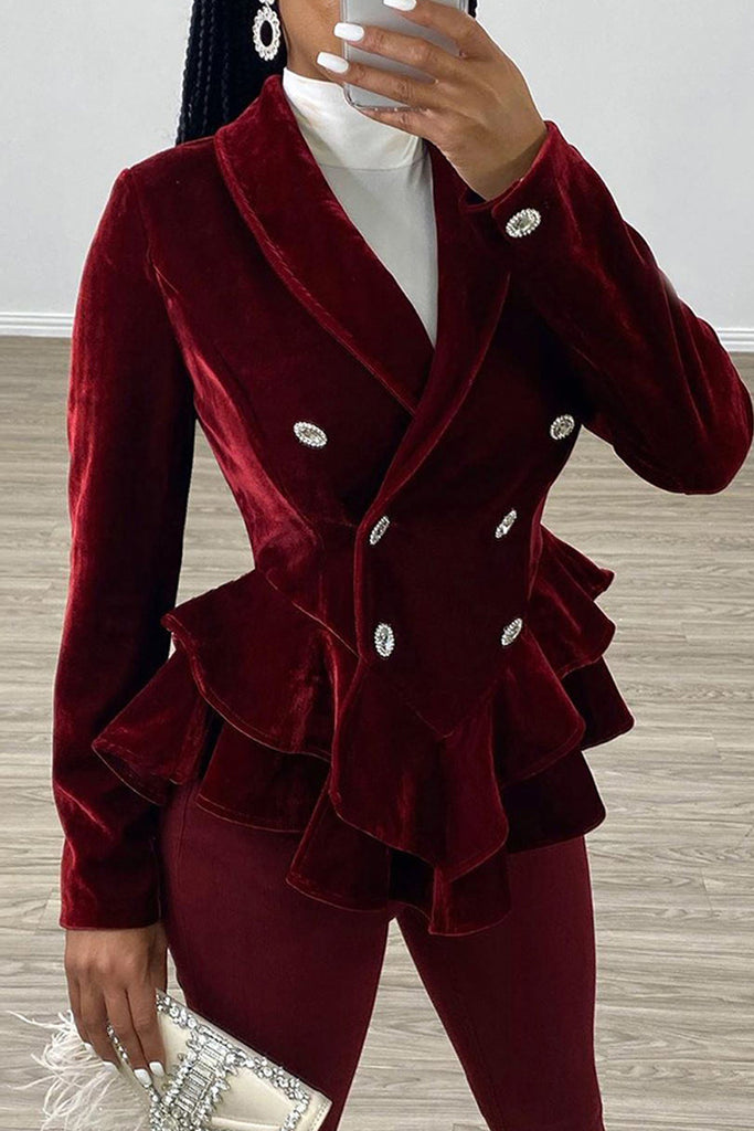 Flounced Wide Lapel Peplum Waist Coat
