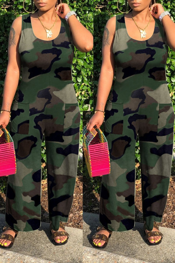 Scoop Neck Camouflage Printed Sleeveless Jumpsuit