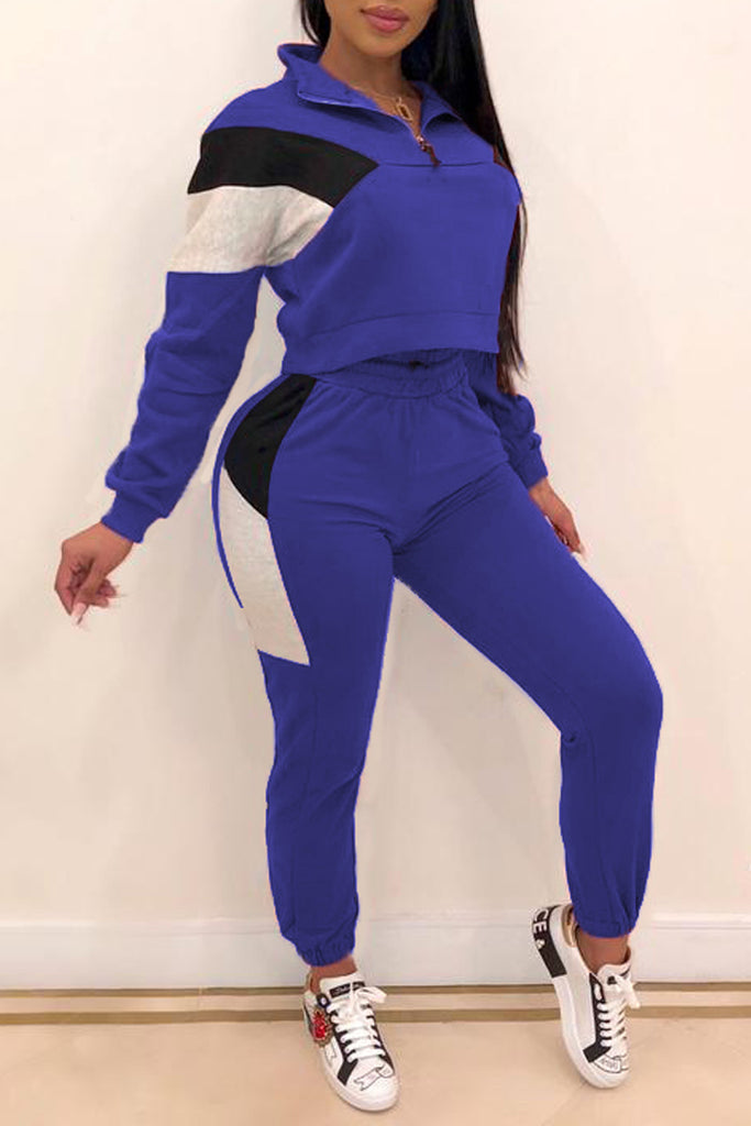 Color Block Zipper Closure Two Piece Sets