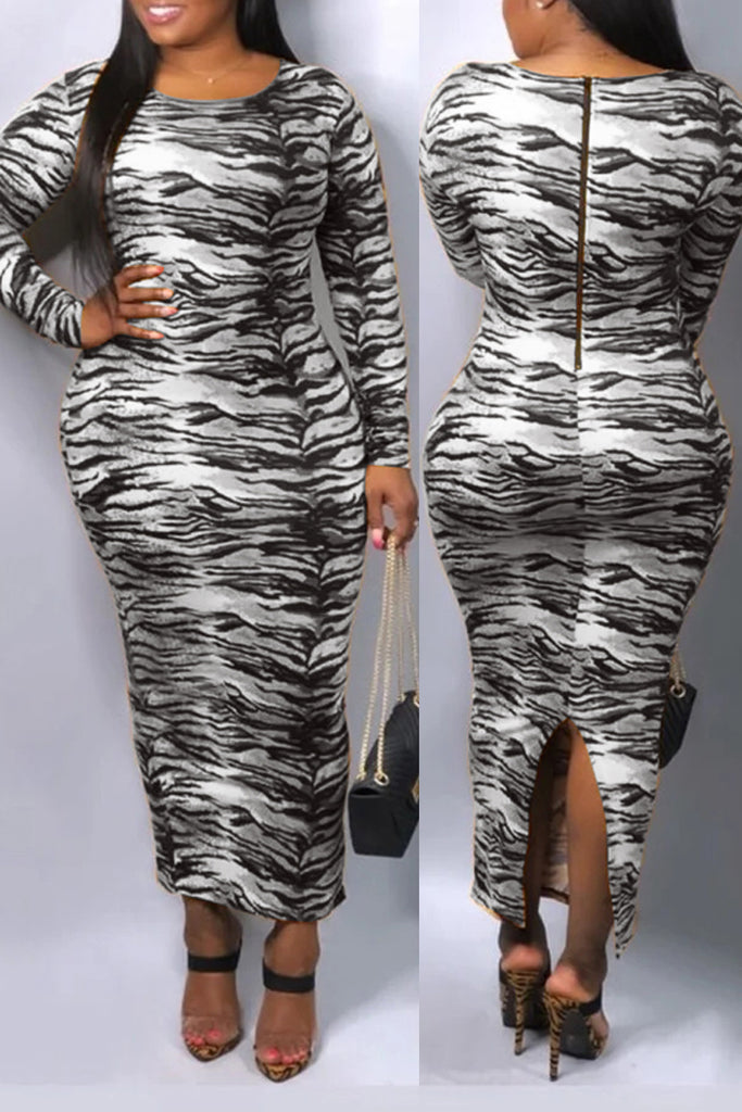 Digital Print Slit Hem Long Sleeve Maxi Dress