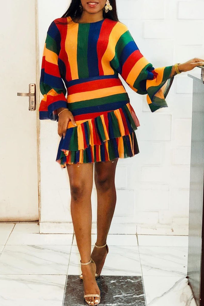 Ruffle Hem Rainbow Striped Flare Sleeve Mini Dress