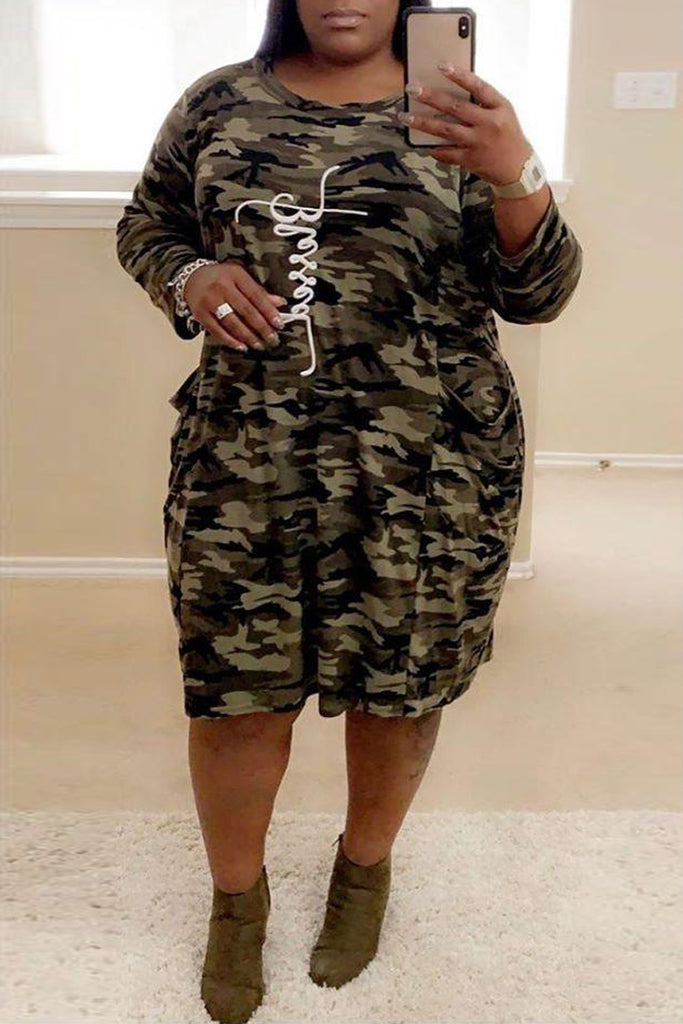 Plus Size Camouflage Printed Letter Print Midi Dress