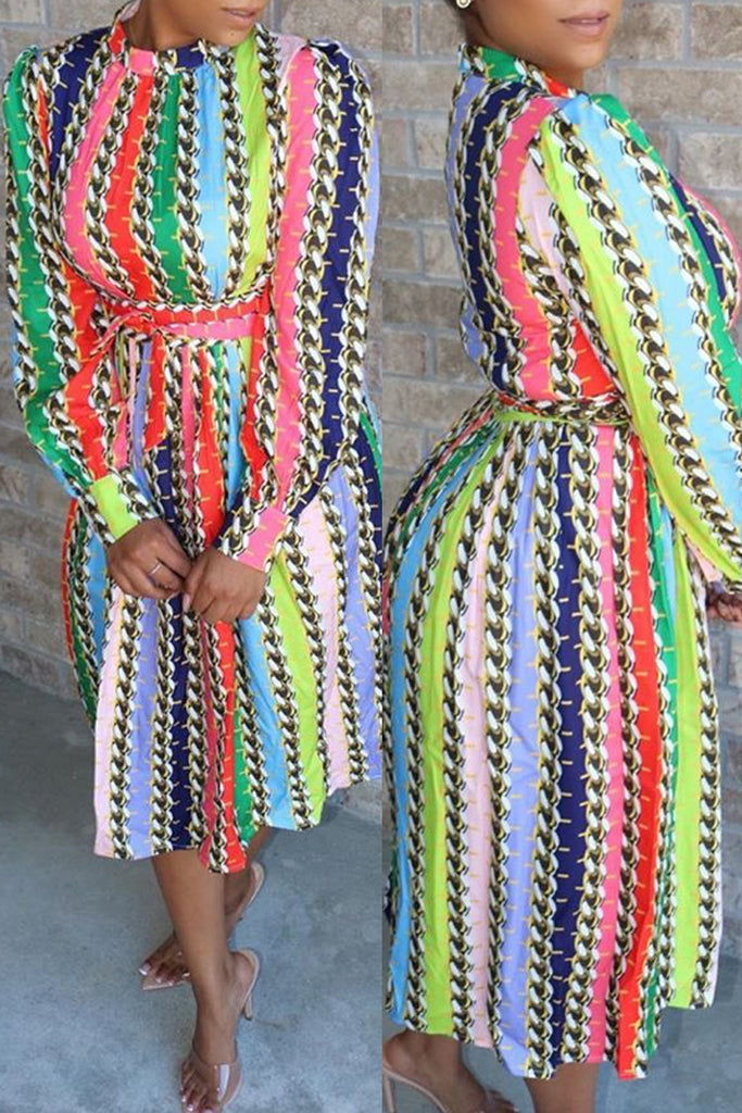 Mixed Color Belted Print Midi Dress
