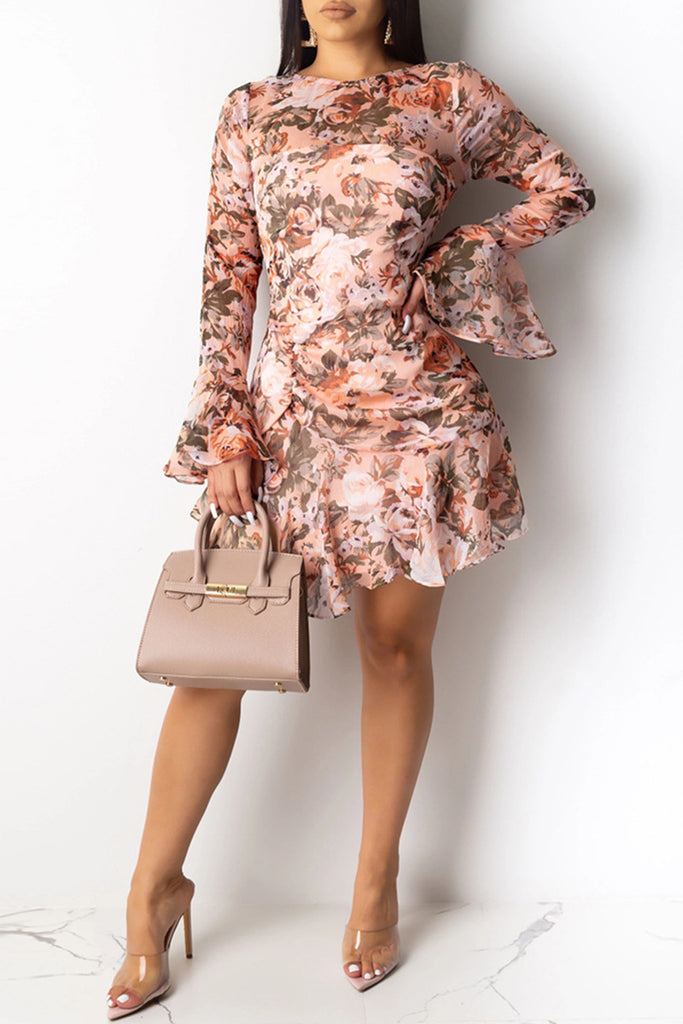 See-Through Floral Print Flared Sleeve Dress