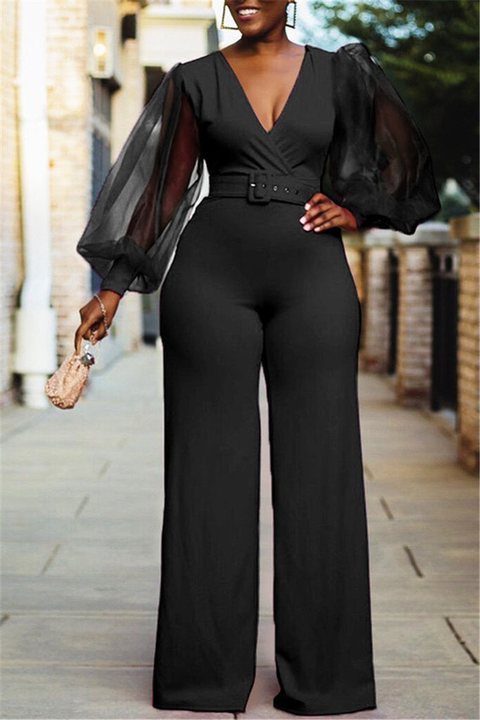 V Neck Lantern Sleeve Solid Color Jumpsuit