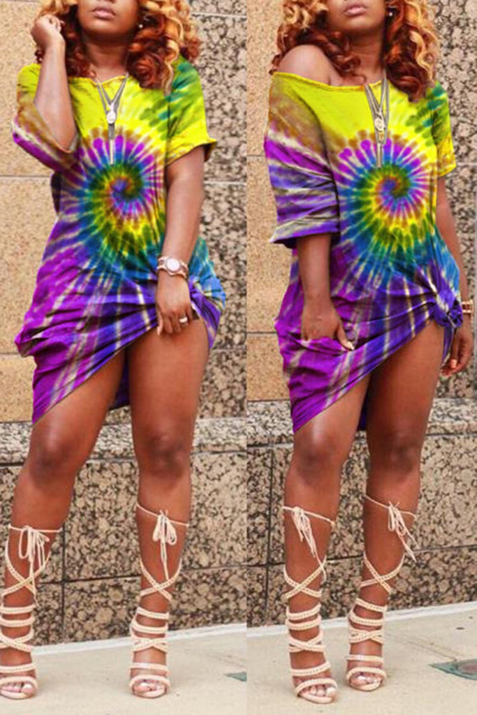 Tie Dye Plus Size Skew Neck Knotted Dress