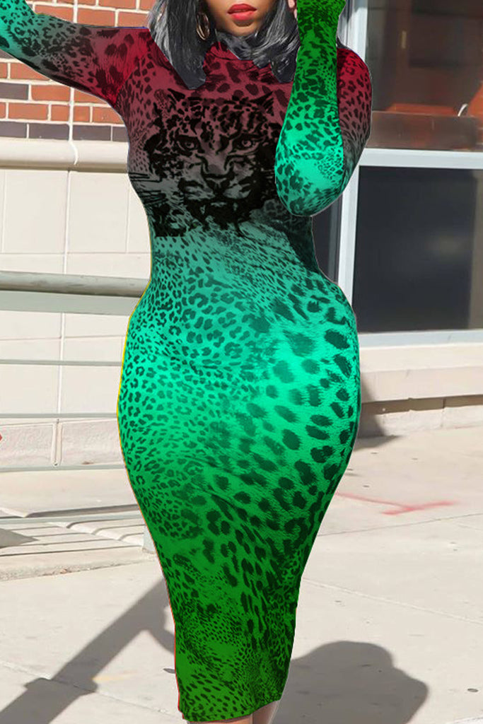 Gradient Print Leopard Print Midi Dress
