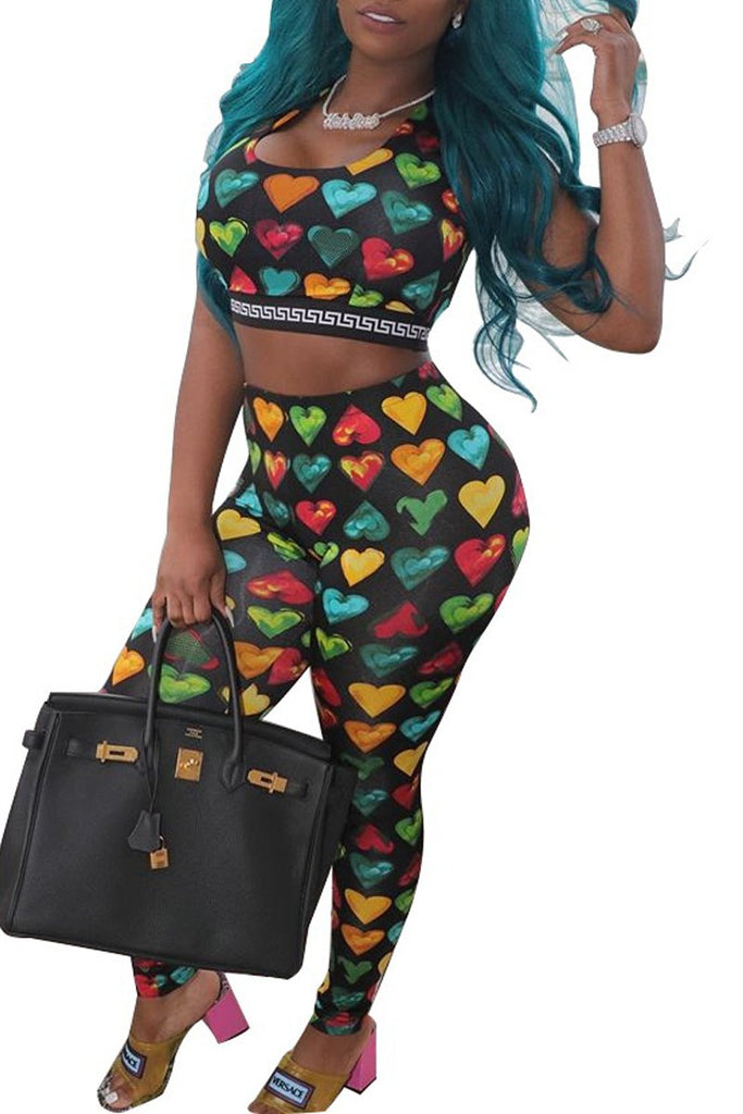 Love Printing Sleeveless Two Piece Sets