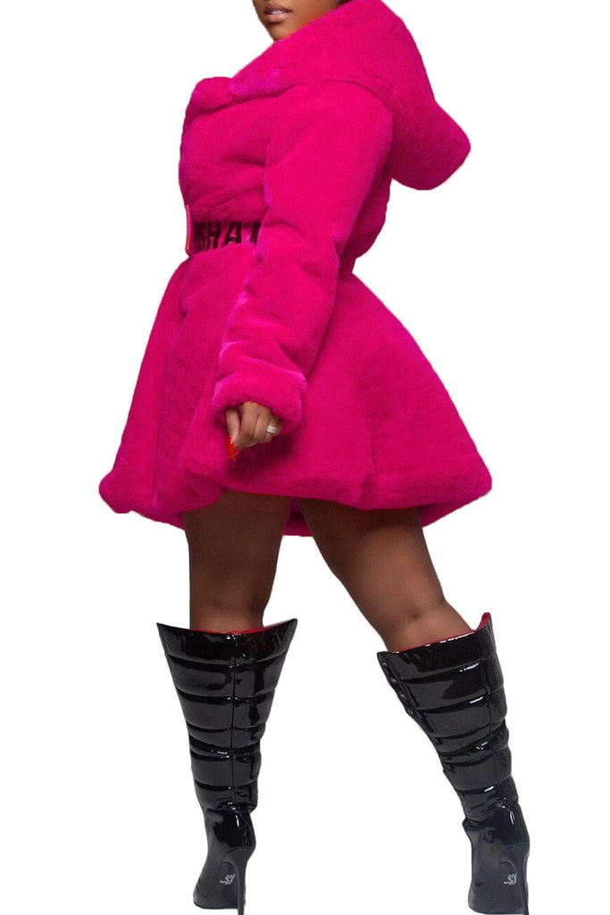 Hooded Collar Faux Fur Coat Without Belt