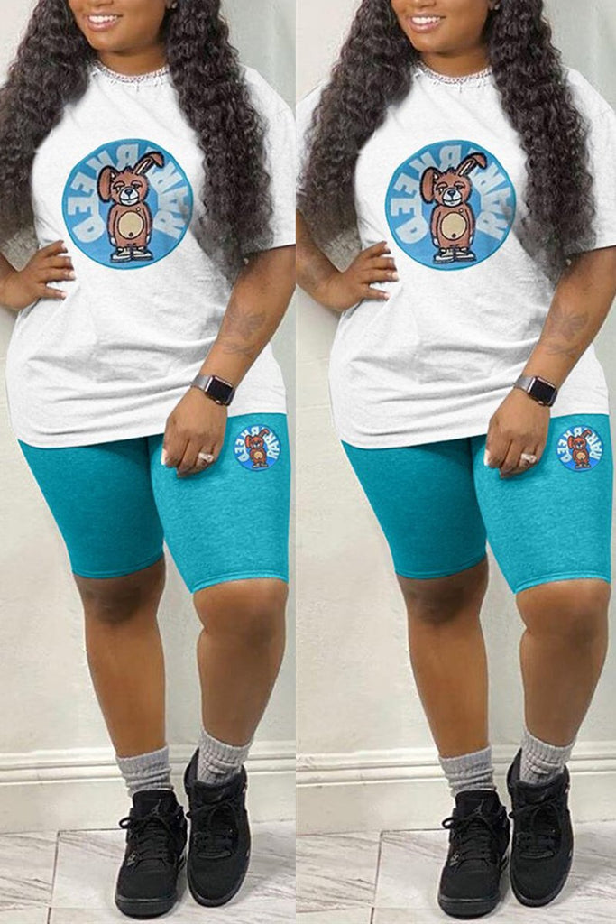 Cartoon Print Plus Size Drawstring Top & Shorts