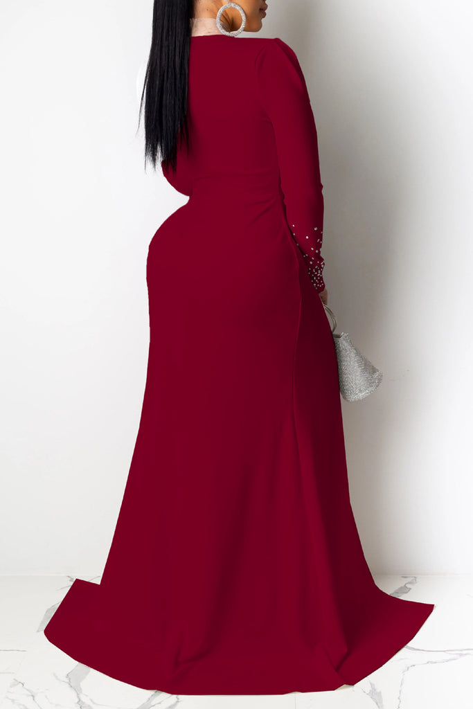 Hot Drilling Deep V Neck Slit Hem Maxi Dress