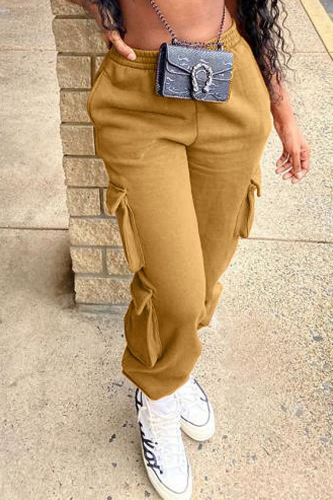 Solid Color Pocket Sports Long Pants