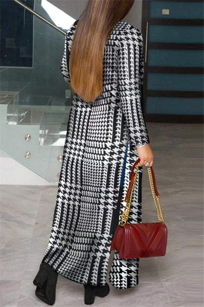 Houndstooth Print Plus Size Long Sleeve Cardigan