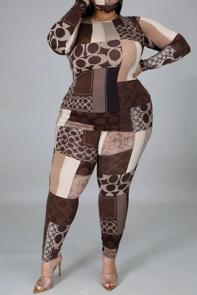 Geometric Print Plus Size Two Piece Sets