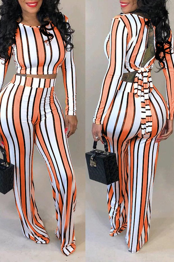 Plus Size Striped Tie Up Two Piece Sets