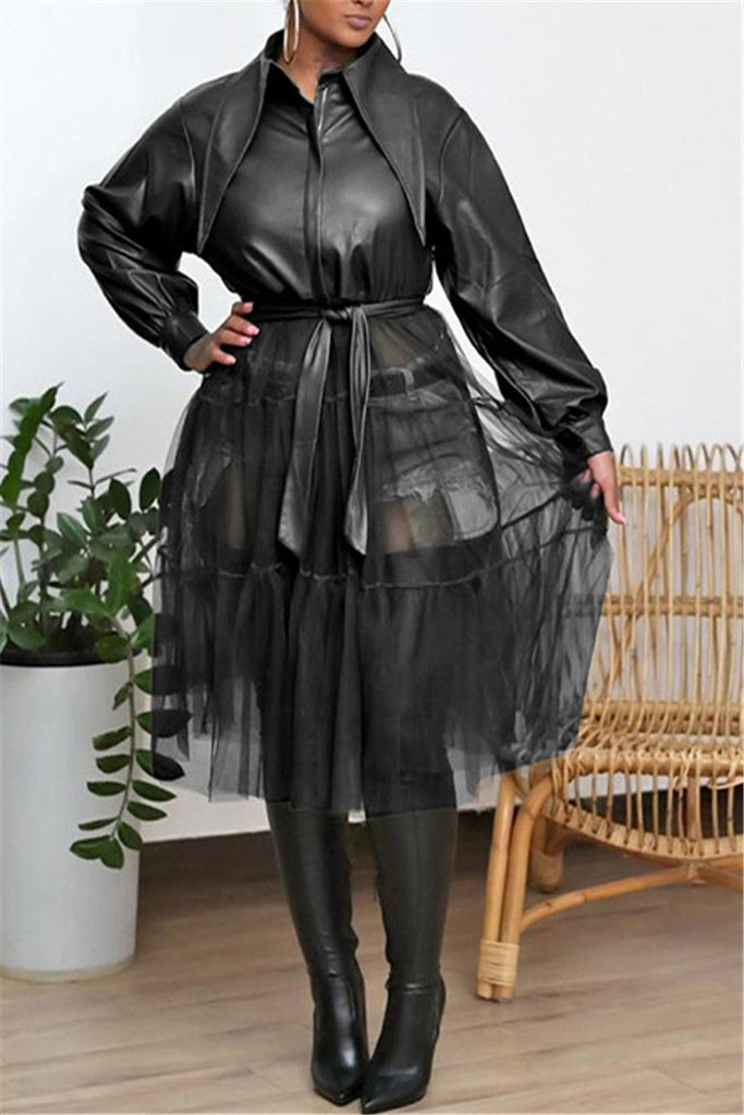 PU Turndown Collar Mesh Panel Coat