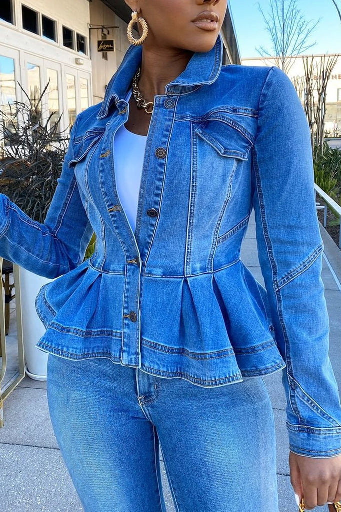 Denim Button Up Ruched Long Sleeve Coat