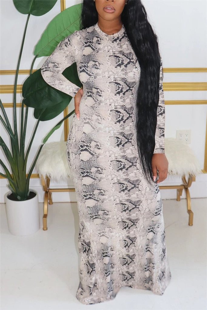 Snake Print Long Sleeve Cutout Maxi Dress