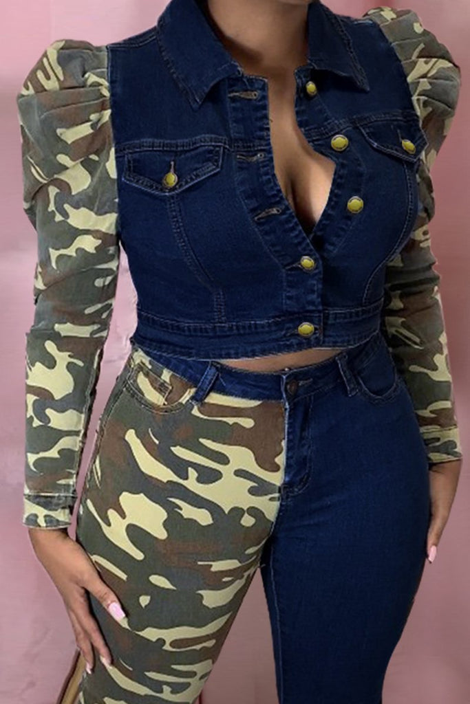 Camouflage Patchwork Puff Sleeve Button Jacket